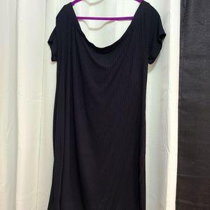 Plus Size Basic Black Off The Shoulder Mini Dress